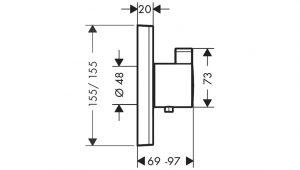 ShowerSelect Termostato de gran caudal empotrado Hansgrohe© Código 15760000