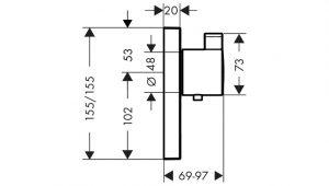 ShowerSelect Termostato de gran caudal empotrado con control adicional para 1 salida Hansgrohe® Código: 15761000
