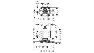 Cuerpo empotrado con conexión de techo Hansgrohe® Código 24010180