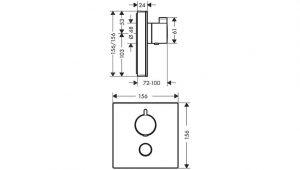 ShowerSelect Glass termostato de gran caudal empotrado con control adicional para 1 salida Hansgrohe® Código: 15735400