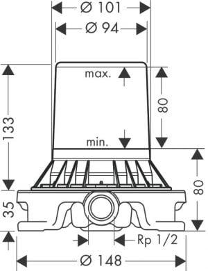 Hansgrohe Cuerpo empotrado para mezclador de pie de bañera 10452180