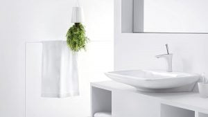 Griferia Baño lavatorio Hansgrohe PuraVida grifo de lavabo 110, con vaciador Push-Open, blanco/cromo codigo 15070400