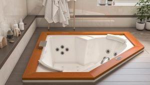 Bañera con hidromasaje Jacuzzi©  Flexa Wood 165×165